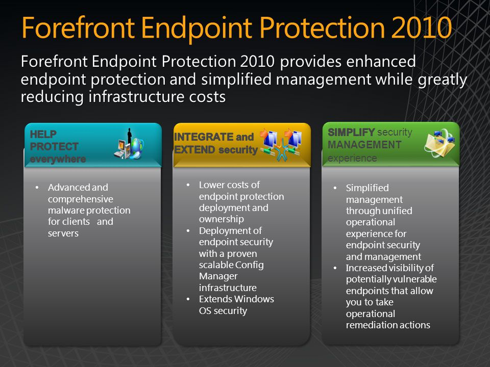 Forefront Endpoint Protection 2010 Forefront Endpoint Protection 2010 provides enhanced endpoint protection and simplified management while greatly reducing infrastructure costs Advanced and comprehensive malware protection for clients and servers Lower costs of endpoint protection deployment and ownership Deployment of endpoint security with a proven scalable Config Manager infrastructure Extends Windows OS security Lower costs of endpoint protection deployment and ownership Deployment of endpoint security with a proven scalable Config Manager infrastructure Extends Windows OS security Simplified management through unified operational experience for endpoint security and management Increased visibility of potentially vulnerable endpoints that allow you to take operational remediation actions Simplified management through unified operational experience for endpoint security and management Increased visibility of potentially vulnerable endpoints that allow you to take operational remediation actions