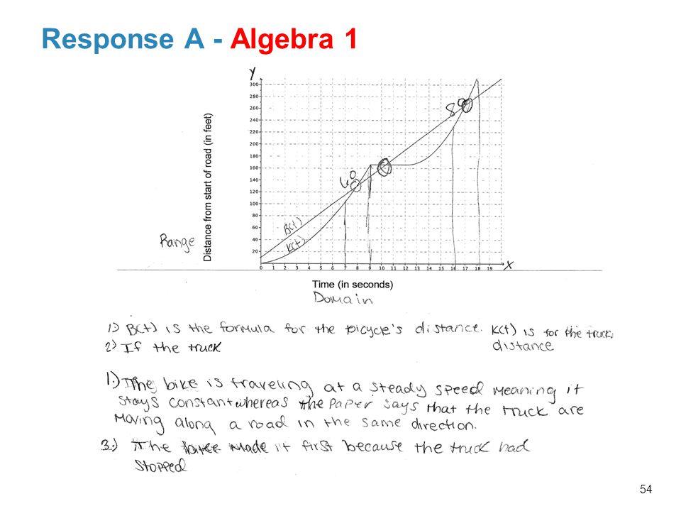 Response A - Algebra 1 54