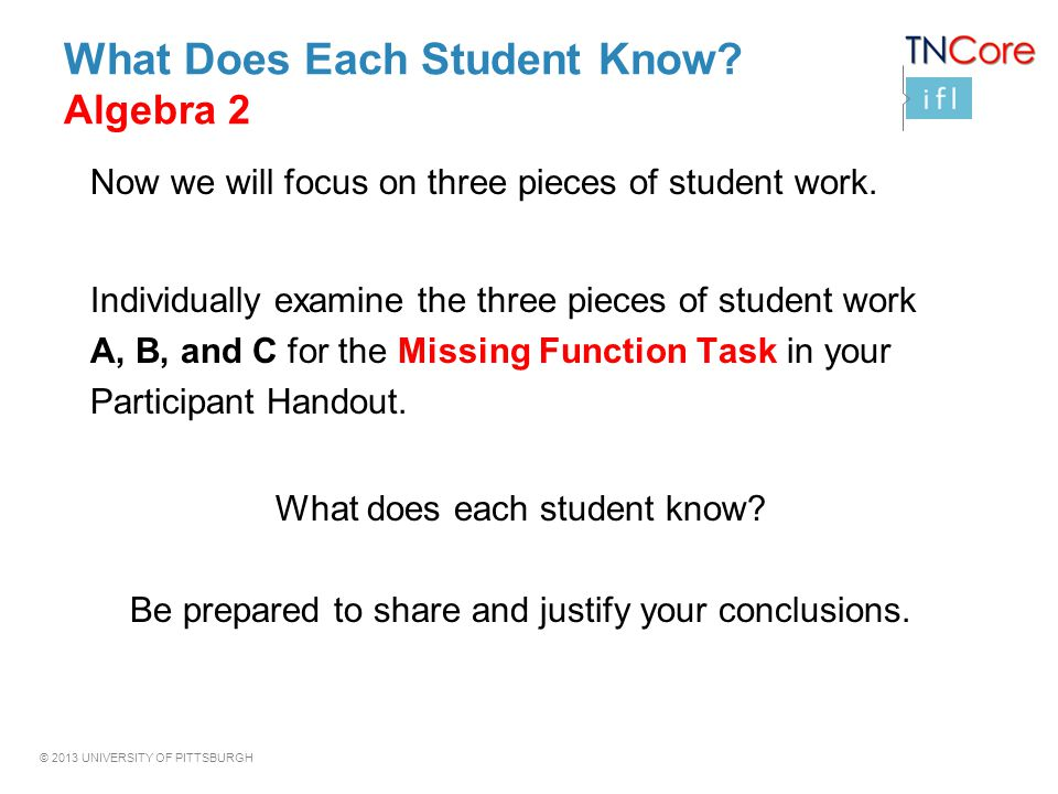 © 2013 UNIVERSITY OF PITTSBURGH What Does Each Student Know? Algebra 2 Now we will focus on three pieces of student work. Individually examine the thr
