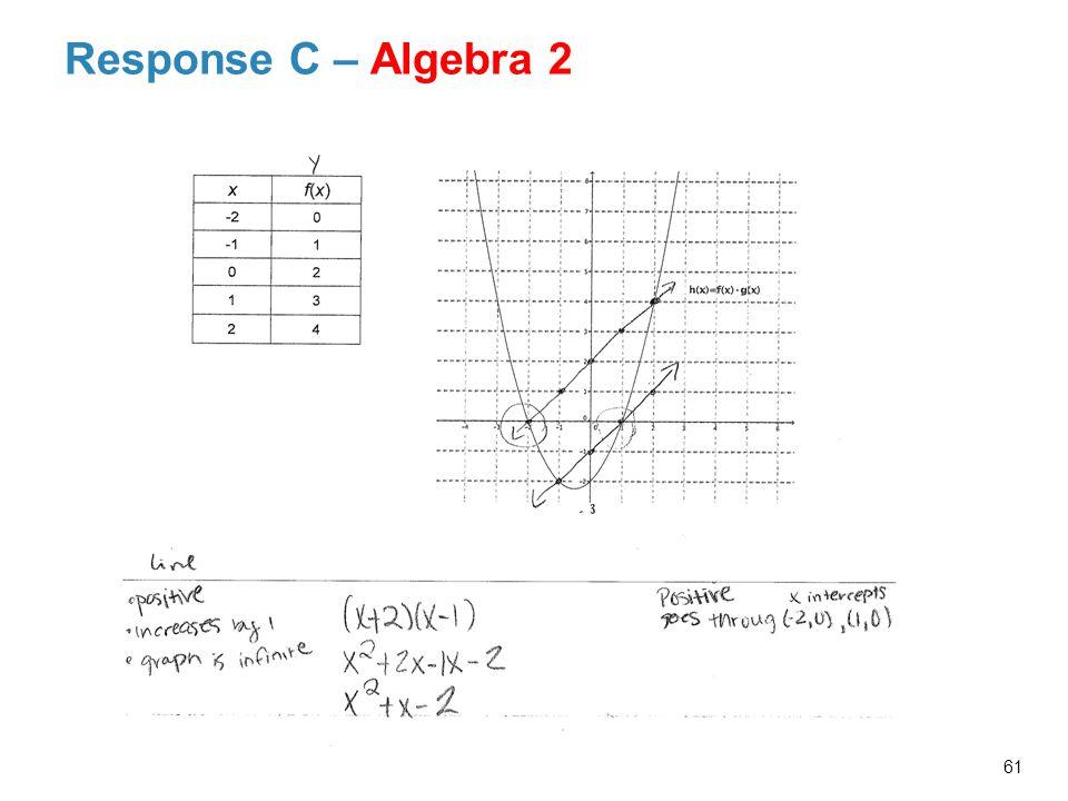 Response C – Algebra 2 61