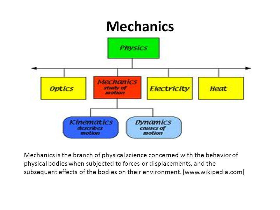 Mechanics Mechanics is the branch of physical science concerned with the behavior of physical bodies when subjected to forces or displacements, and th