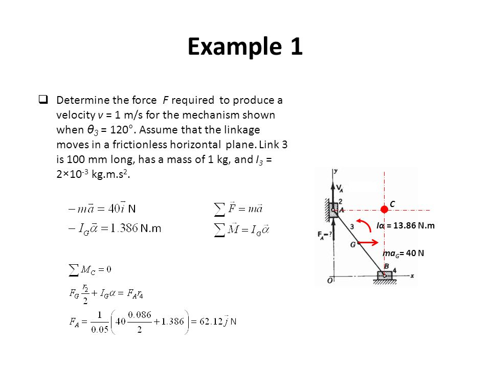 Example 1 ma G = 40 N Iα = 13.86 N.m C  Determine the force F required to produce a velocity v = 1 m/s for the mechanism shown when θ 3 = 120°. Assum