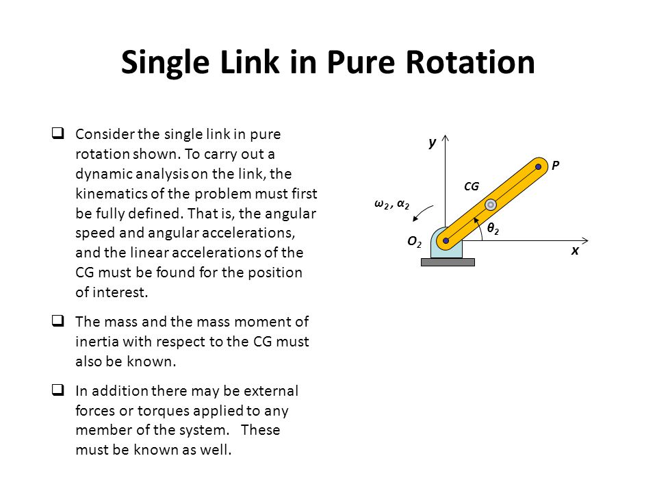 CG Single Link in Pure Rotation  Consider the single link in pure rotation shown. To carry out a dynamic analysis on the link, the kinematics of the