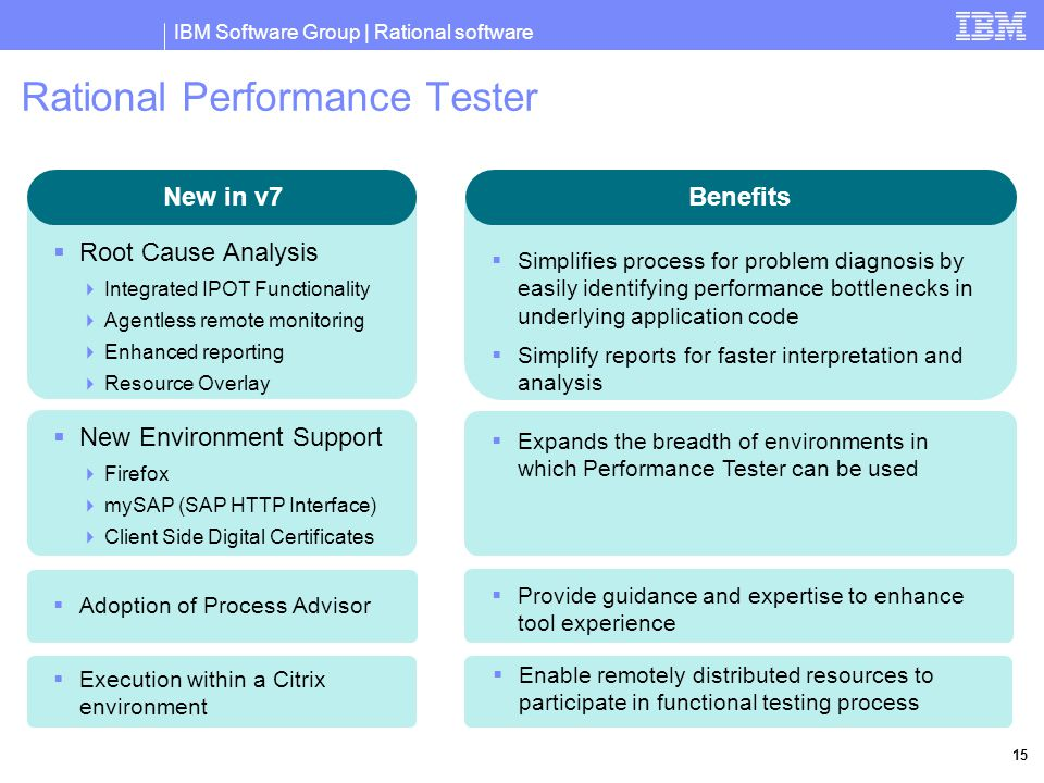 IBM Software Group | Rational software 15 Rational Performance Tester New in v7 Benefits  Simplifies process for problem diagnosis by easily identifying performance bottlenecks in underlying application code  Simplify reports for faster interpretation and analysis  Root Cause Analysis  Integrated IPOT Functionality  Agentless remote monitoring  Enhanced reporting  Resource Overlay  New Environment Support  Firefox  mySAP (SAP HTTP Interface)  Client Side Digital Certificates  Expands the breadth of environments in which Performance Tester can be used  Execution within a Citrix environment  Enable remotely distributed resources to participate in functional testing process  Adoption of Process Advisor  Provide guidance and expertise to enhance tool experience