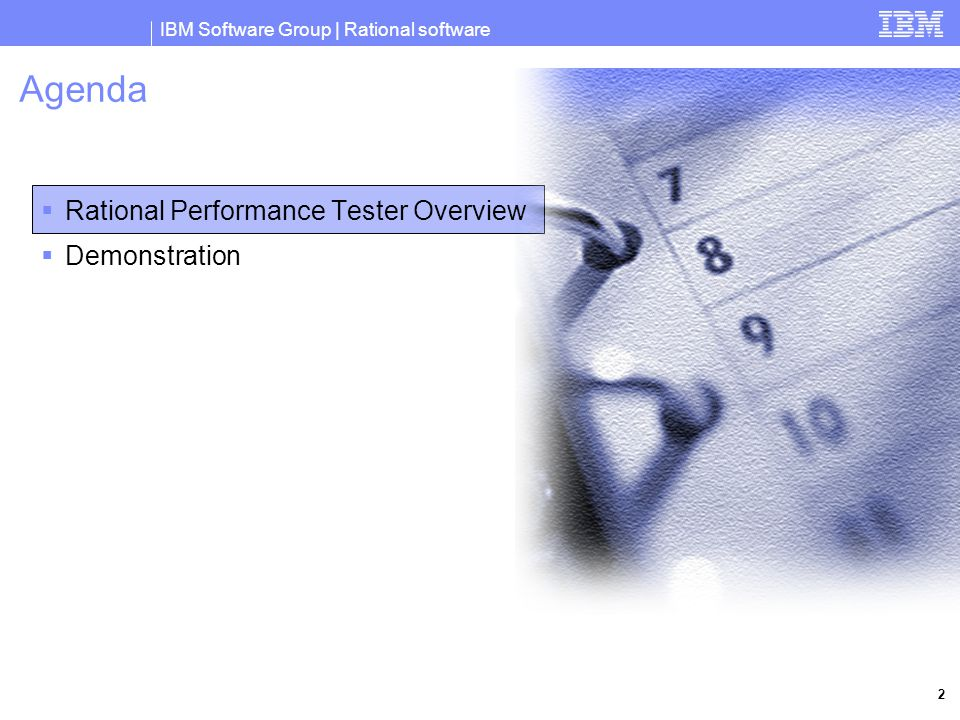 IBM Software Group | Rational software 2 Agenda  Rational Performance Tester Overview  Demonstration