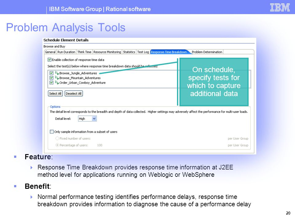 IBM Software Group | Rational software 20 Problem Analysis Tools  Feature:  Response Time Breakdown provides response time information at J2EE method level for applications running on Weblogic or WebSphere  Benefit:  Normal performance testing identifies performance delays, response time breakdown provides information to diagnose the cause of a performance delay On schedule, specify tests for which to capture additional data