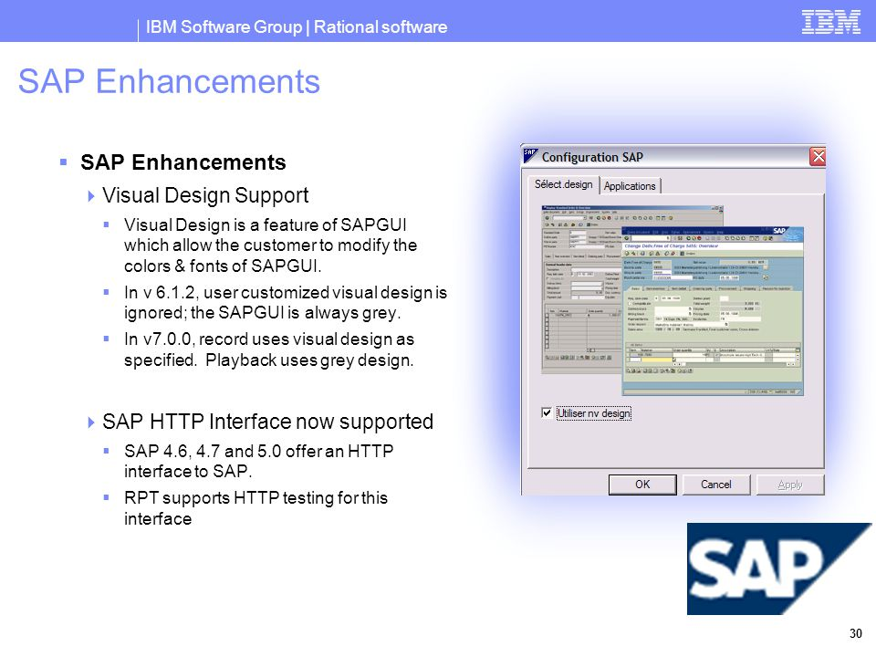 IBM Software Group | Rational software 30 SAP Enhancements  SAP Enhancements  Visual Design Support  Visual Design is a feature of SAPGUI which allow the customer to modify the colors & fonts of SAPGUI.