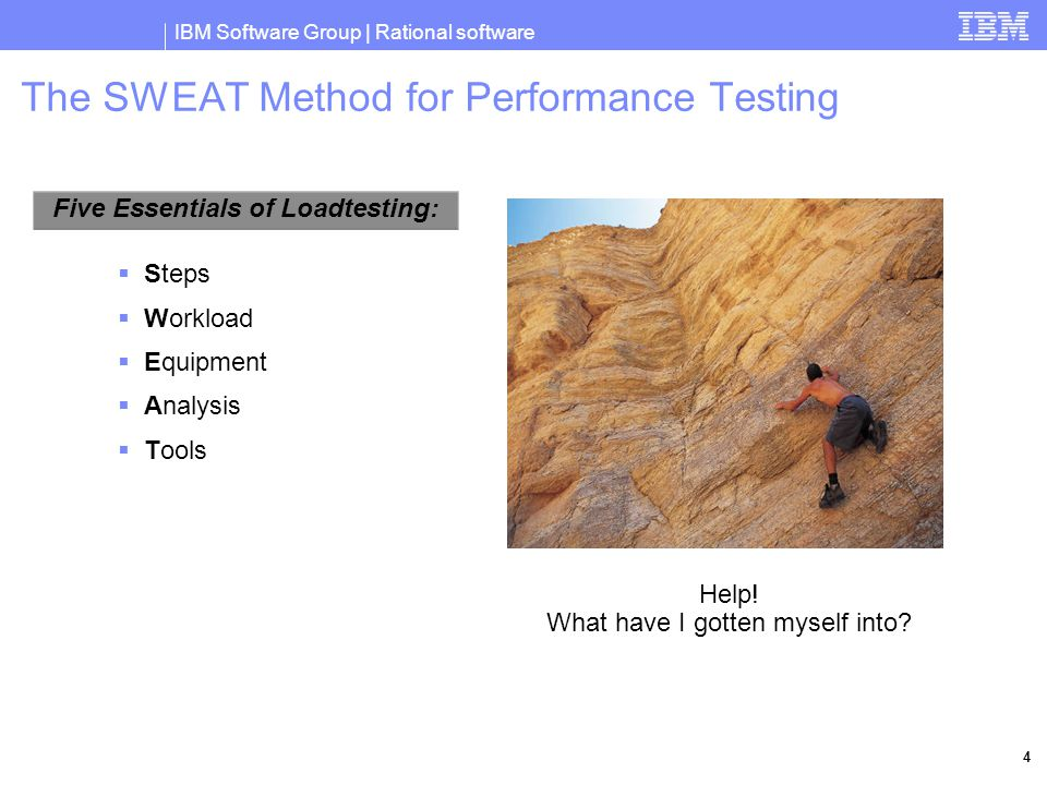 IBM Software Group | Rational software 4 The SWEAT Method for Performance Testing  Steps  Workload  Equipment  Analysis  Tools Five Essentials of Loadtesting: Help.