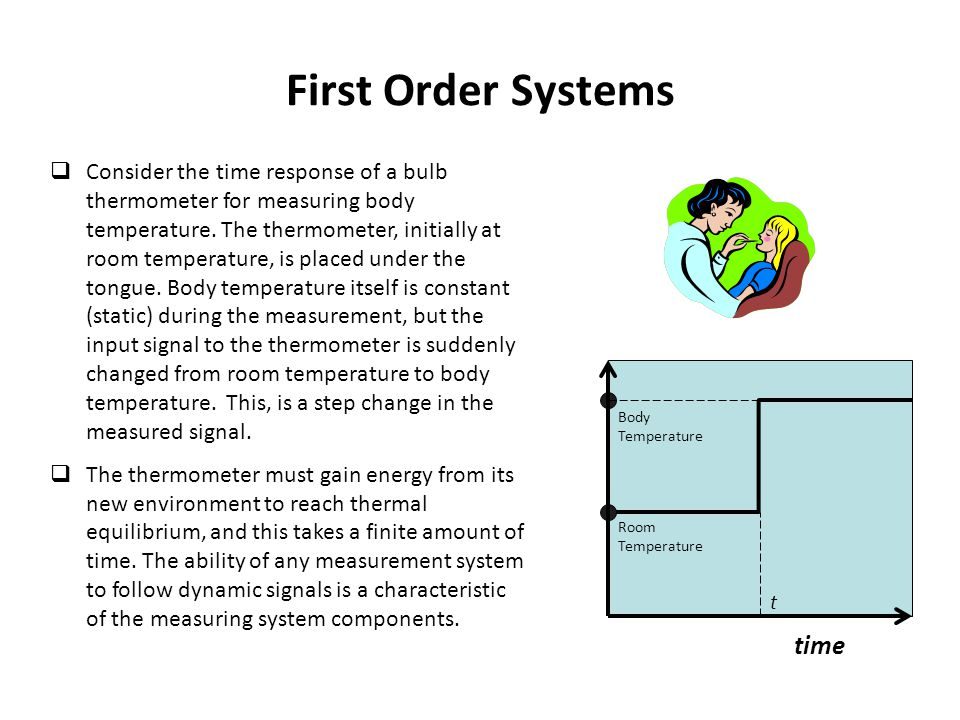 First Order Systems  Consider the time response of a bulb thermometer for measuring body temperature. The thermometer, initially at room temperature,