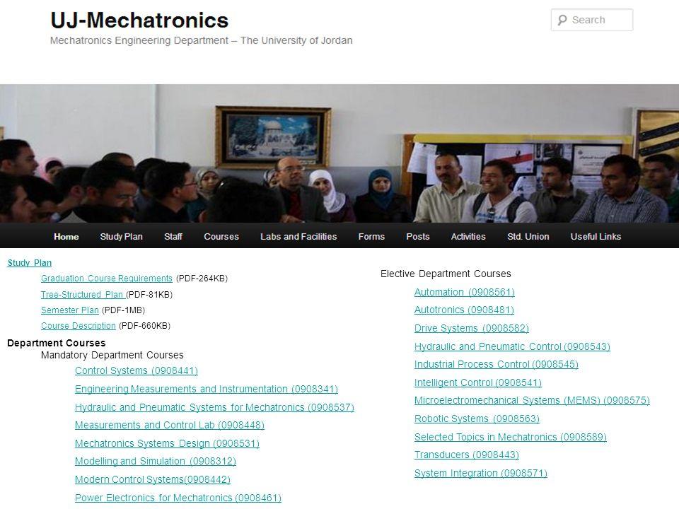 Staff Academic Staff Lutfi Al-Sharif, 06/5355000 ext 23027, l.sharif@ju.edu.jo, Mohammad Al-Janaideh, ext 23007, aljanaideh@gmail.com Mohammad Kilani, ext 23025, mkilani77@yahoo.com Osama Al-Habahbeh, ext, o.habahbeh@ju.edu.jo Ratib Issa, ext 22814, ratebissa@yahoo.com Za'er Abo-Hammour, ext 23026, zaer@ju.edu.jo Engineering Staff Hesham Mohammad, ext 23028, hishamhatem@hotmail.com Nadeen Habash, ext 23028, n.habash@ju.edu.jo Nazmi Abu-Ashour, ext 23029, n.abuashour@ju.edu.jo Nisreen Al-Amayreh, ext 23028, n.alamayreh@yahoo.com Osama Abdel A'al, ext 23028, osama.fuad.pce@gmail.com Rasha Noufal, ext 23028,r.noufal@ju.edu.jo Safaa Al-Wreadat, ext, s.alwreadat@ju.edu.jo Labs and Facilities Automation Lab Hydraulics and Pneumatics Lab Measurements and Control Lab Mechatronics System Design Lab Transducers Lab Forms and Instructions Alternative Course Form Closed Section Registration Form Course Drop Form Course Grade Revision Form Graduation Project Forms and Instructions Student Release Form Posts and Announcements Department Posts and Announcements Staff Posts and Announcements Course Posts and Announcements