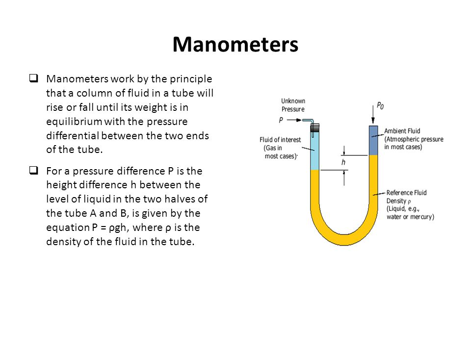  Manometers work by the principle that a column of fluid in a tube will rise or fall until its weight is in equilibrium with the pressure differentia