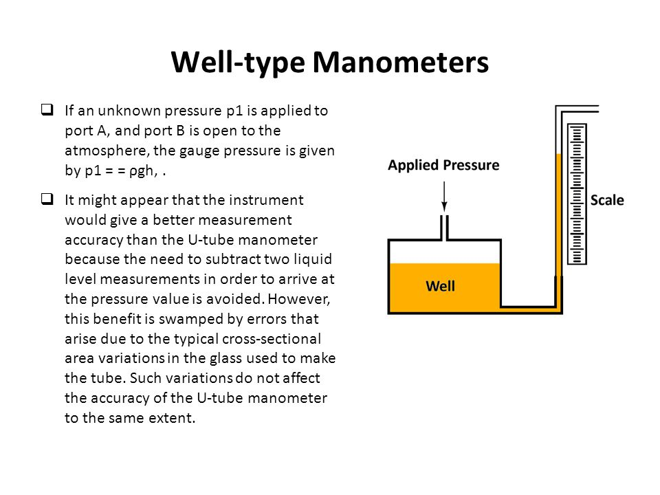 Well-type Manometers  If an unknown pressure p1 is applied to port A, and port B is open to the atmosphere, the gauge pressure is given by p1 = = ρgh