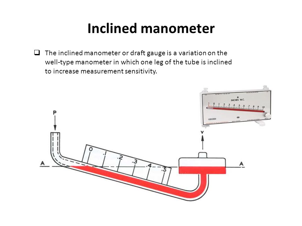 Inclined manometer  The inclined manometer or draft gauge is a variation on the well-type manometer in which one leg of the tube is inclined to incre