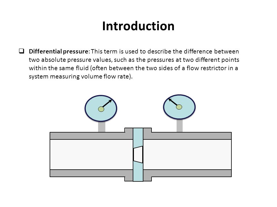 Introduction  Differential pressure: This term is used to describe the difference between two absolute pressure values, such as the pressures at two