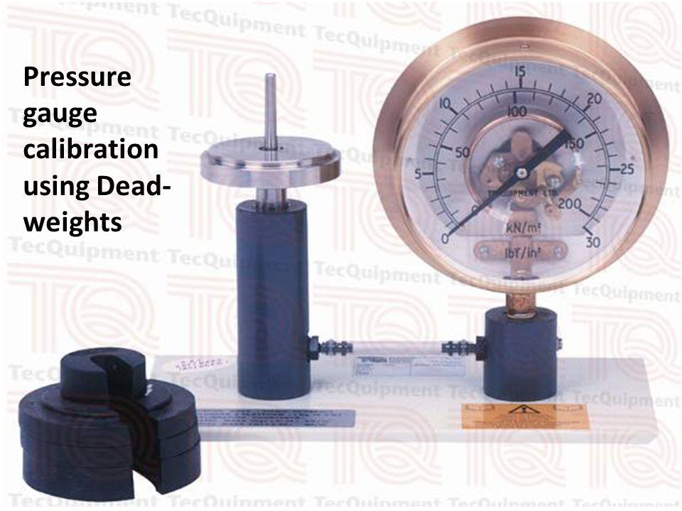 Pressure gauge calibration using Dead- weights