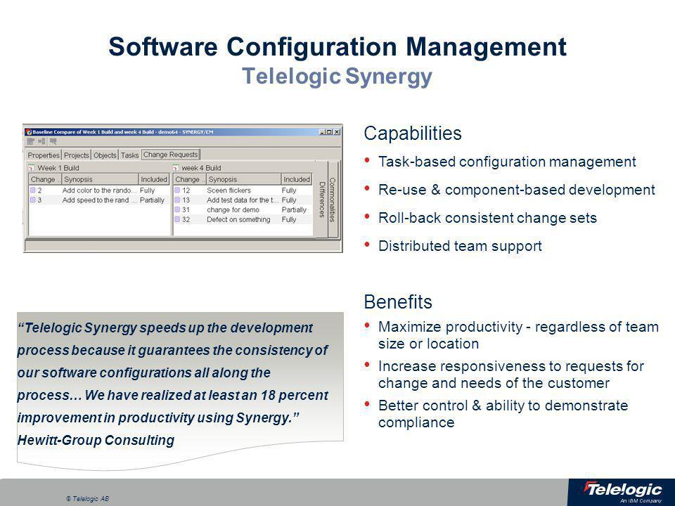 a © Telelogic AB Software Configuration Management Telelogic Synergy Capabilities Task-based configuration management Re-use & component-based develop