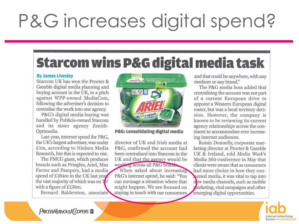 P&G increases digital spend?