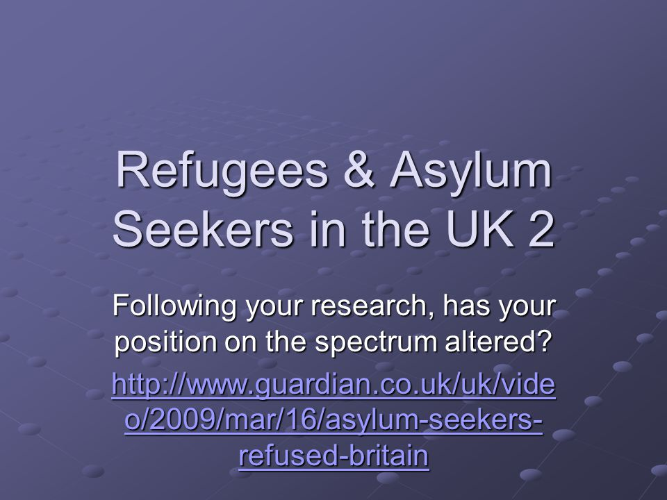 Refugees & Asylum Seekers in the UK 2 Following your research, has your position on the spectrum altered.