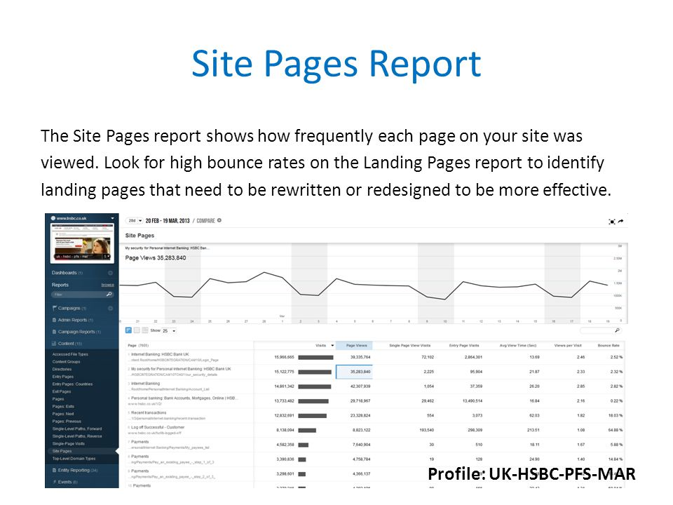 Site Pages Report The Site Pages report shows how frequently each page on your site was viewed.