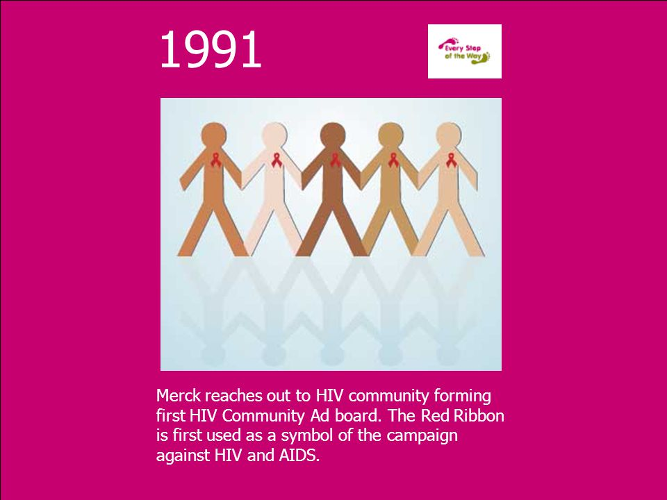 1991 Merck reaches out to HIV community forming first HIV Community Ad board.