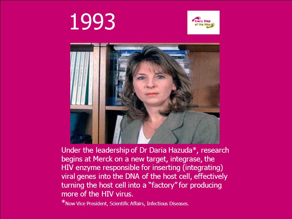 1993 Under the leadership of Dr Daria Hazuda*, research begins at Merck on a new target, integrase, the HIV enzyme responsible for inserting (integrating) viral genes into the DNA of the host cell, effectively turning the host cell into a factory for producing more of the HIV virus.