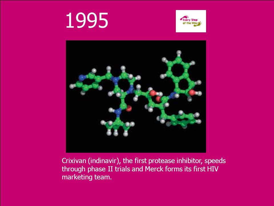 1995 Crixivan (indinavir), the first protease inhibitor, speeds through phase II trials and Merck forms its first HIV marketing team.