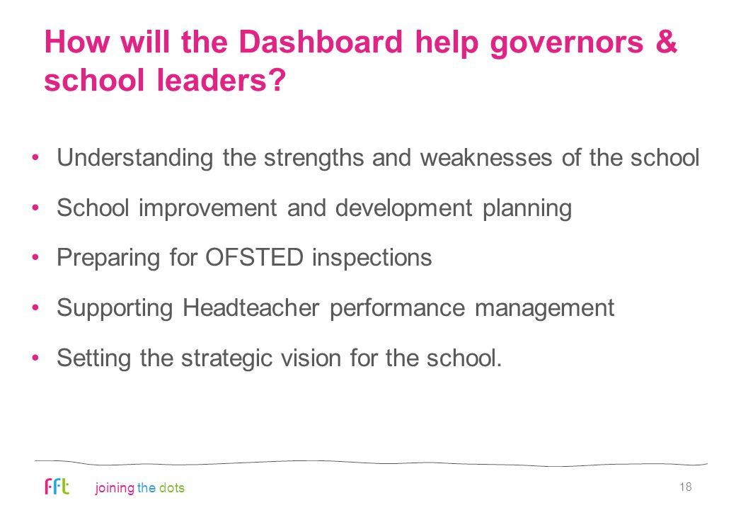 joining the dots How will the Dashboard help governors & school leaders? Understanding the strengths and weaknesses of the school School improvement a