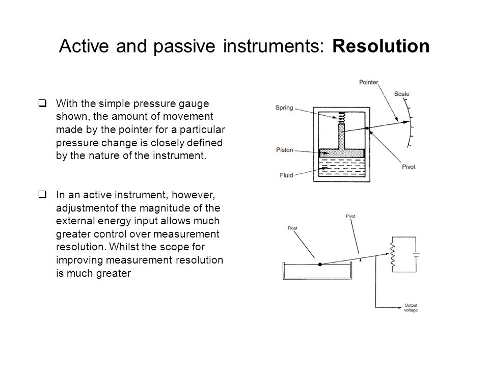 Active and passive instruments: Cost  Passive instruments are normally of a more simple construction than active ones and are therefore cheaper to manufacture.