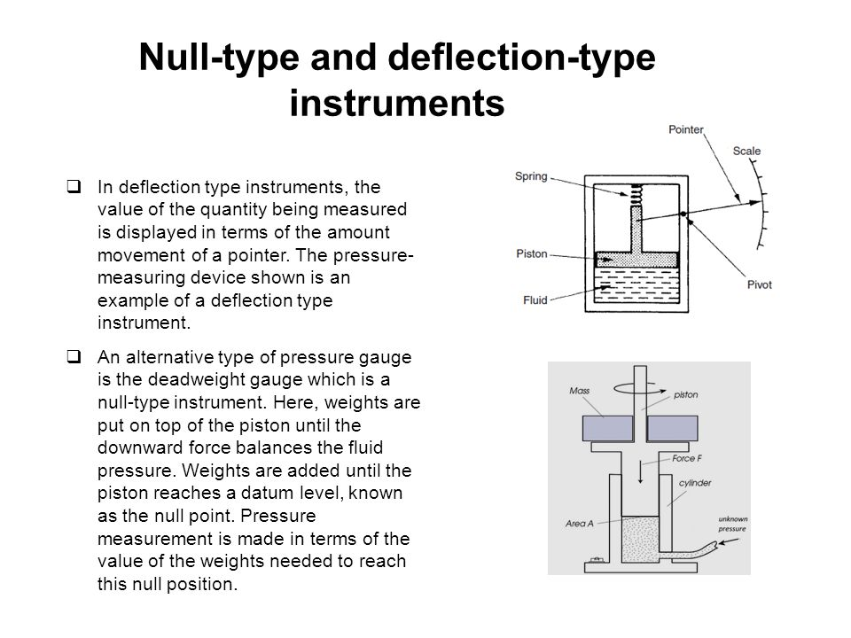 Null-type and deflection-type instruments: Accuracy  The accuracy of the deflection type pressure measurement instrument depends depends on the linearity and calibration of the spring, whilst for the second it relies on the calibration of the weights.