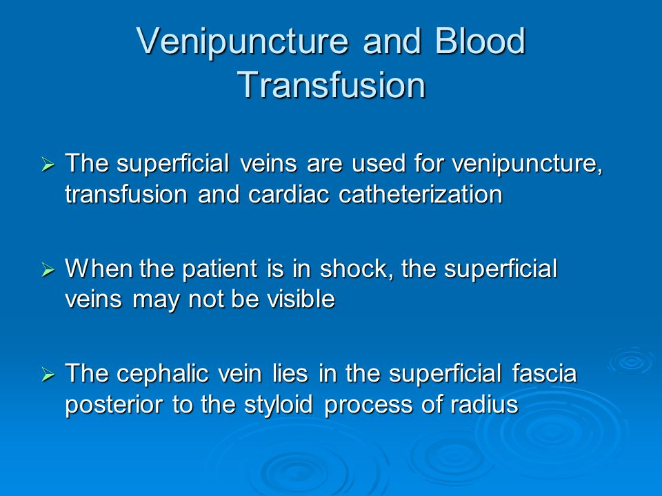 Venipuncture and Blood Transfusion  The superficial veins are used for venipuncture, transfusion and cardiac catheterization  When the patient is in