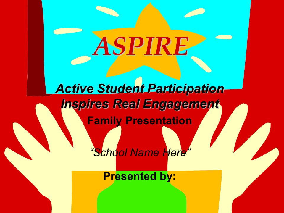 """ASPIRE ASPIRE Active Student Participation Inspires Real Engagement Family Presentation """"School Name Here"""" Presented by:"""