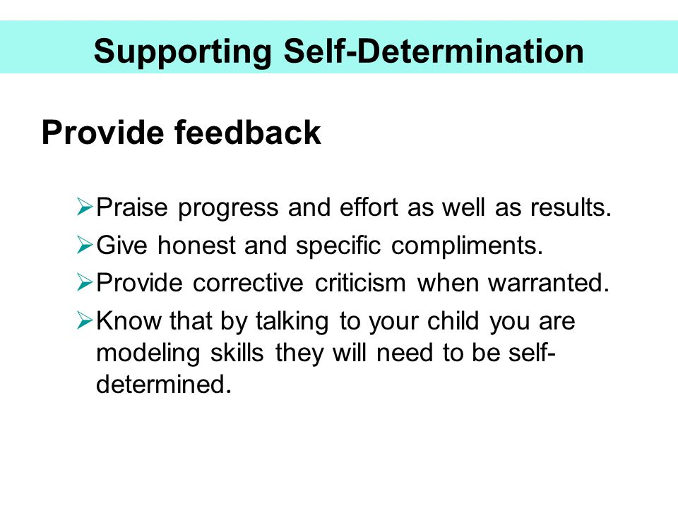 Supporting Self-Determination Provide feedback  Praise progress and effort as well as results.  Give honest and specific compliments.  Provide corr