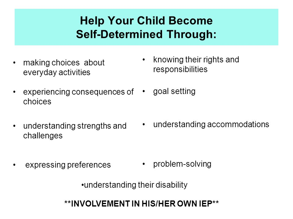 Helping My Child Get Started Learn the ASPIRE Concepts  NEXT  Talk to your child about:  IEP goals  Accommodations  Encourage them to do the activities needed to participate in the meeting  Prepare for the IEP using the Pre-Planning Meeting handout