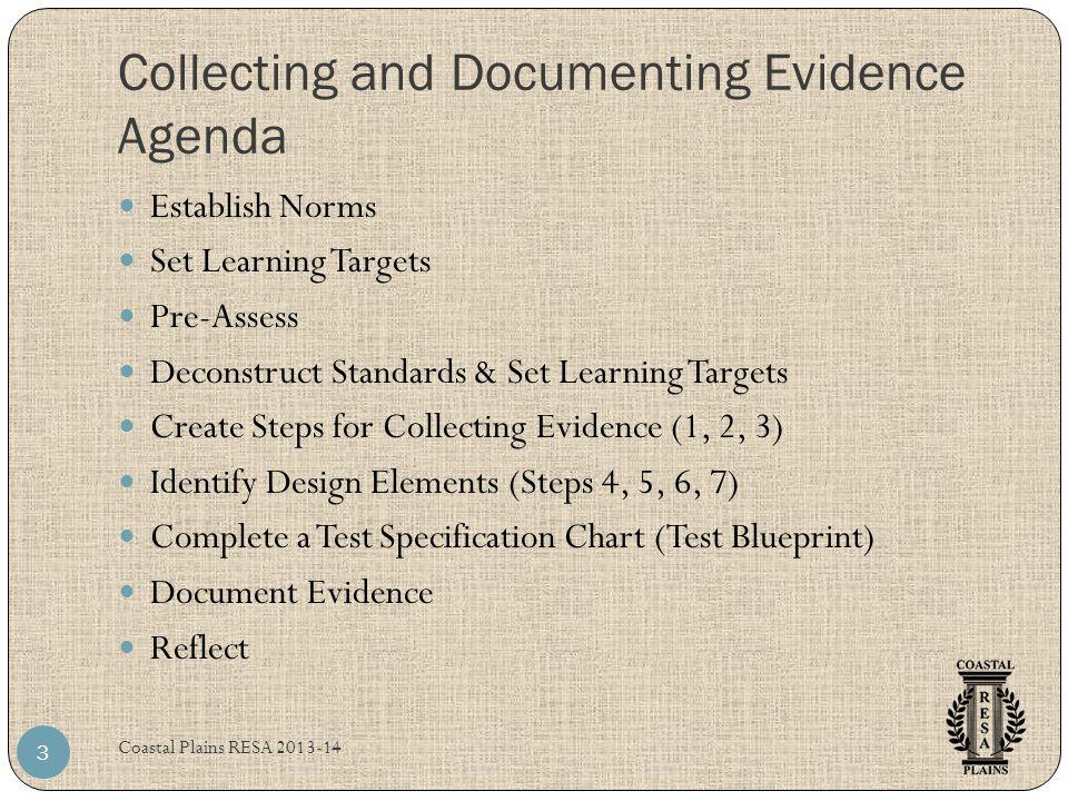 Collecting and Documenting Evidence Agenda Coastal Plains RESA 2013-14 3 Establish Norms Set Learning Targets Pre-Assess Deconstruct Standards & Set L