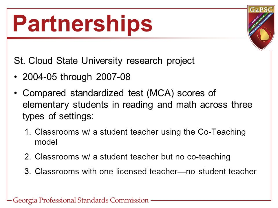 St. Cloud State University research project 2004-05 through 2007-08 Compared standardized test (MCA) scores of elementary students in reading and math