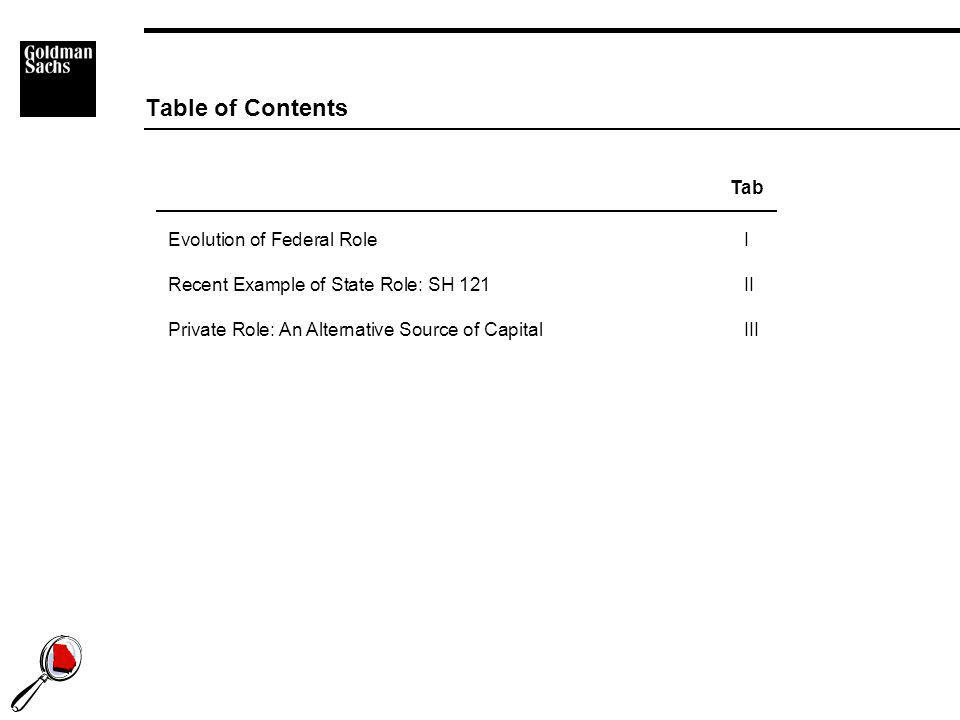 1 Evolution of Federal RoleI Recent Example of State Role: SH 121 II Private Role: An Alternative Source of CapitalIII Table of Contents Tab