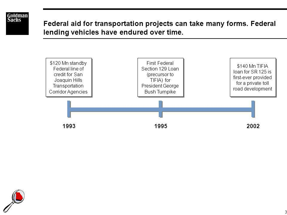 3 Federal aid for transportation projects can take many forms. Federal lending vehicles have endured over time. 199319952002 $120 Mn standby Federal l