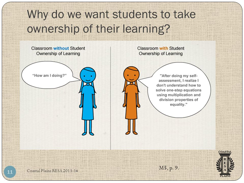 Why do we want students to take ownership of their learning? Coastal Plains RESA 2013-14 11 M5, p. 9.