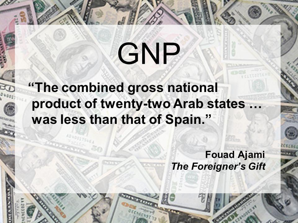 GNP The combined gross national product of twenty-two Arab states … was less than that of Spain. Fouad Ajami The Foreigner's Gift