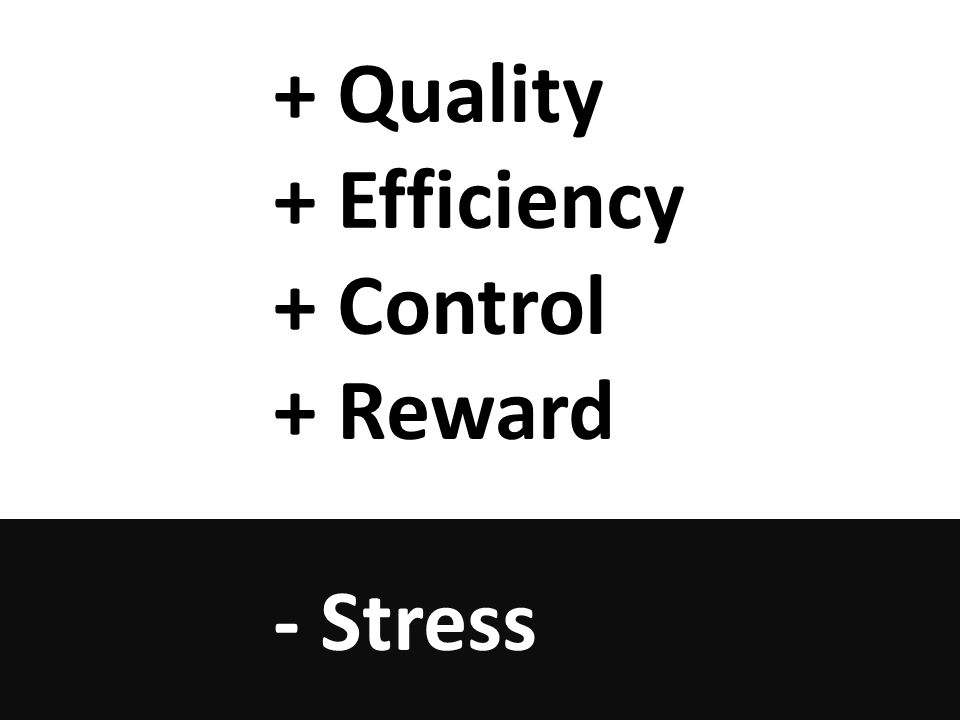 + Quality + Efficiency + Control + Reward - Stress