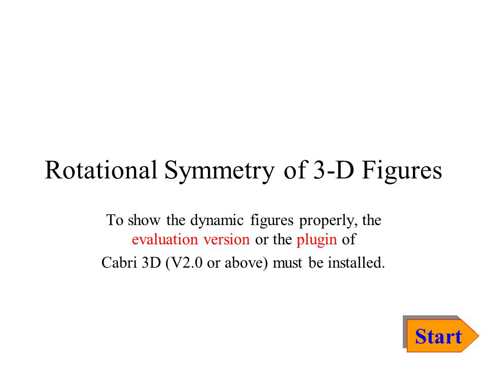 Rotational Symmetry of 3-D Figures To show the dynamic figures properly, the evaluation version or the plugin of Cabri 3D (V2.0 or above) must be inst