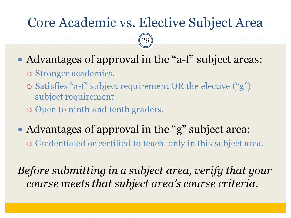 Core Academic vs.