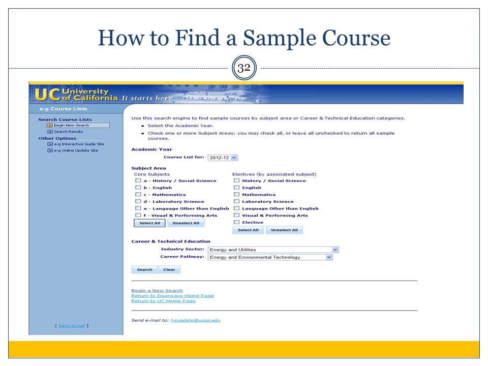 32 How to Find a Sample Course