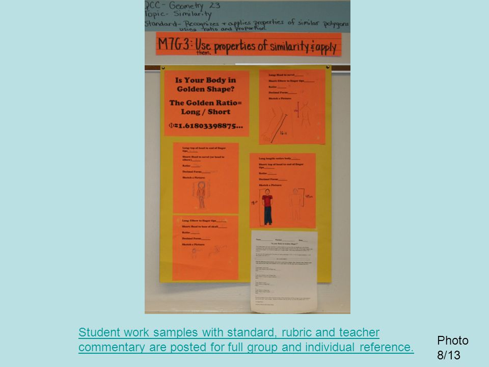 Student work samples with standard, rubric and teacher commentary are posted for full group and individual reference.