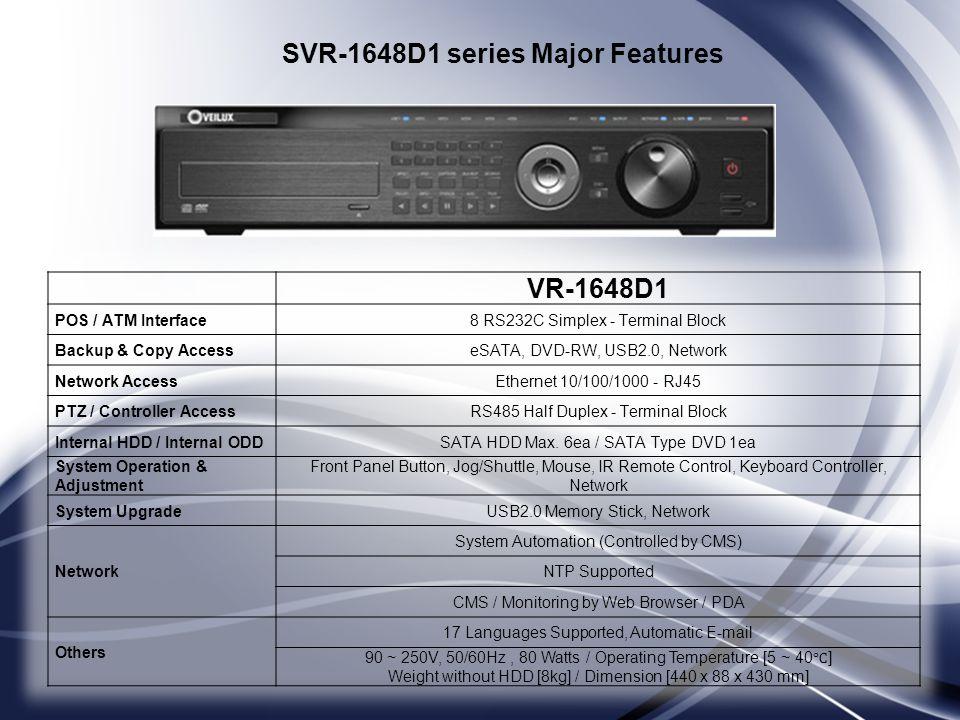 VR-1648D1 POS / ATM Interface8 RS232C Simplex - Terminal Block Backup & Copy AccesseSATA, DVD-RW, USB2.0, Network Network AccessEthernet 10/100/1000 -
