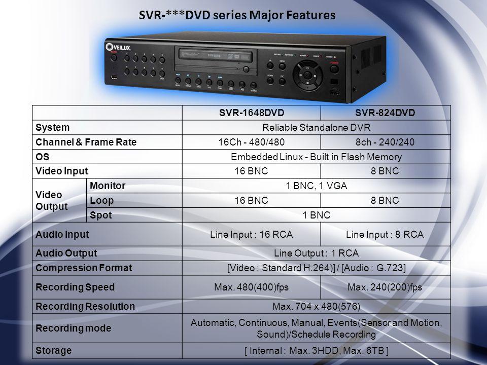 SVR-***DVD series Major Features SVR-1648DVDSVR-824DVD SystemReliable Standalone DVR Channel & Frame Rate16Ch - 480/4808ch - 240/240 OSEmbedded Linux