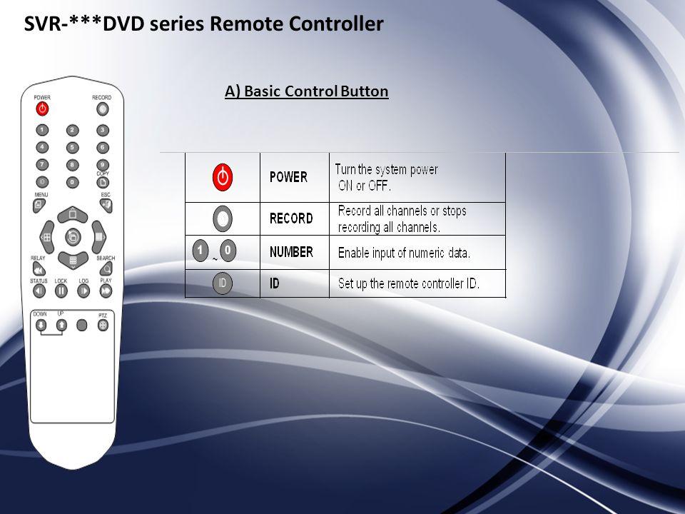 SVR-***DVD series Remote Controller A) Basic Control Button