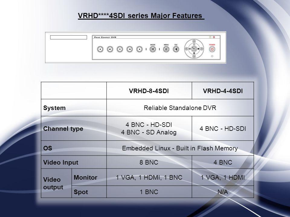 VRHD****4SDI series Major Features VRHD-8-4SDIVRHD-4-4SDI SystemReliable Standalone DVR Channel type 4 BNC - HD-SDI 4 BNC - SD Analog 4 BNC - HD-SDI O