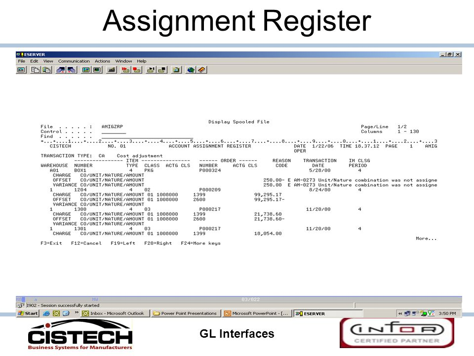 GL Interfaces 31 Assignment Register