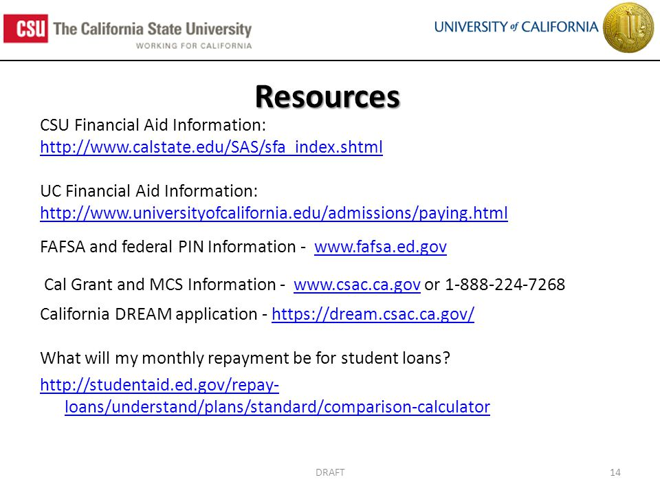 DRAFT14 Resources CSU Financial Aid Information: http://www.calstate.edu/SAS/sfa_index.shtml UC Financial Aid Information: http://www.universityofcalifornia.edu/admissions/paying.html FAFSA and federal PIN Information - www.fafsa.ed.govwww.fafsa.ed.gov Cal Grant and MCS Information - www.csac.ca.gov or 1-888-224-7268www.csac.ca.gov California DREAM application - https://dream.csac.ca.gov/https://dream.csac.ca.gov/ What will my monthly repayment be for student loans.